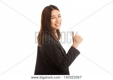 Young Asian Businesswoman Turn Back Thumbs Up.