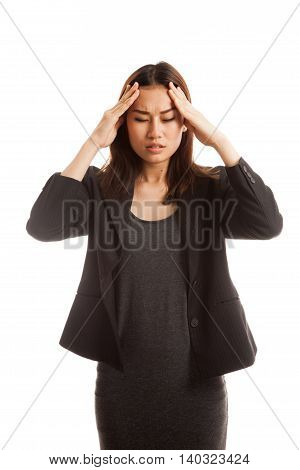 Young Asian Business Woman Got Sick And  Headache.