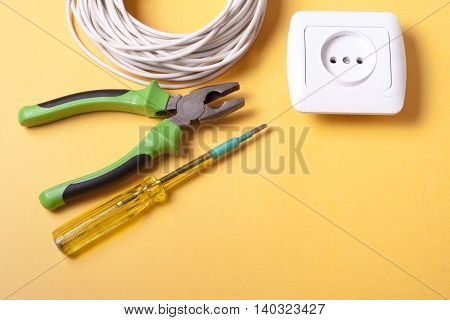 Set of electrical tool. Accessories for engineering work, energy concept