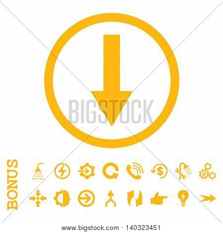 Down Rounded Arrow glyph icon. Image style is a flat iconic symbol, yellow color, white background.