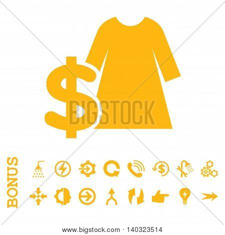 Dress Price glyph icon. Image style is a flat pictogram symbol, yellow color, white background.