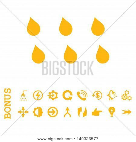 Drops glyph icon. Image style is a flat iconic symbol, yellow color, white background.