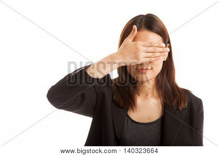 Young Asian Business Woman Close Her Eyes With Hand.