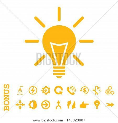 Electric Light glyph icon. Image style is a flat pictogram symbol, yellow color, white background.