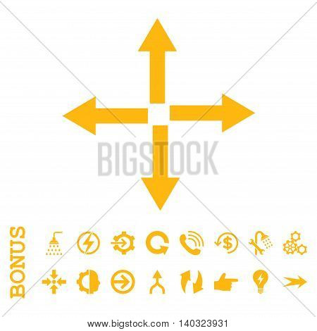 Expand Arrows glyph icon. Image style is a flat iconic symbol, yellow color, white background.