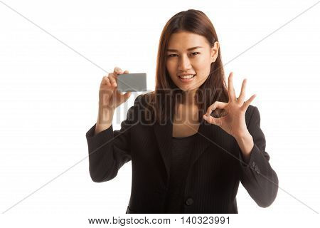 Young Asian Business Woman Show Ok With A Blank Card.