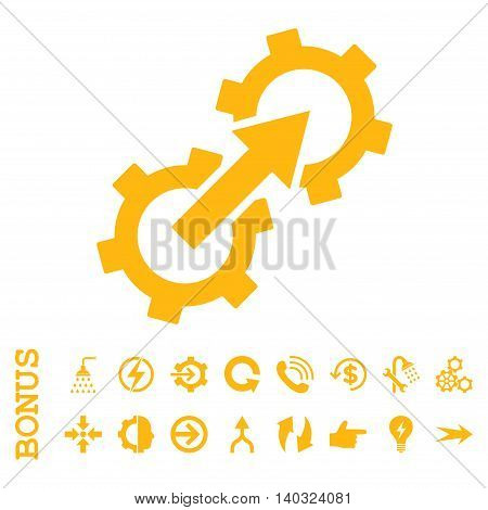 Gear Integration glyph icon. Image style is a flat iconic symbol, yellow color, white background.