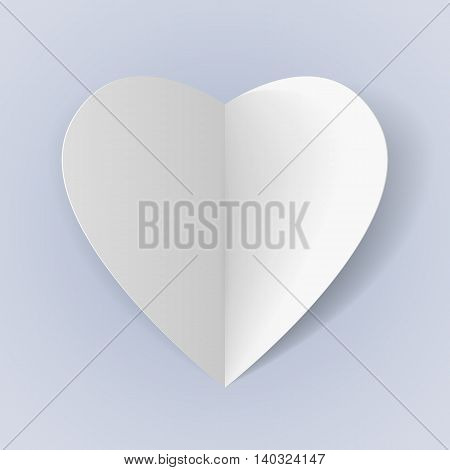 White folded paper heart for romantic design