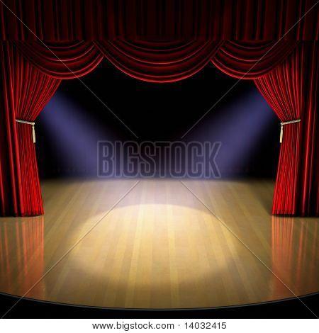 Palco de teatro com cortina vermelha e holofotes sobre o chão do palco.