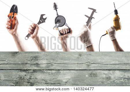 DIY tools set collage with copy space for text at wooden background isolated on white.