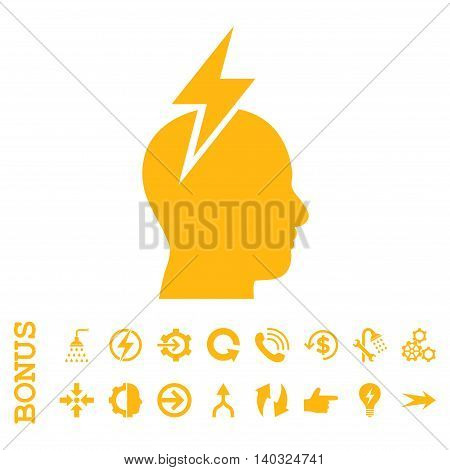Headache glyph icon. Image style is a flat iconic symbol, yellow color, white background.