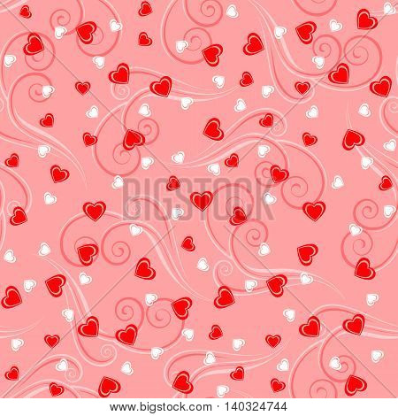 Seamless pattern background with hearts and tendrils in red colors