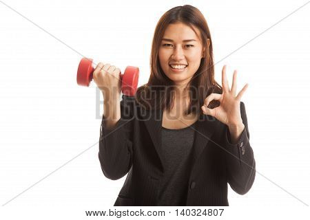 Healthy Asian Business Woman Show Ok With Dumbbells.