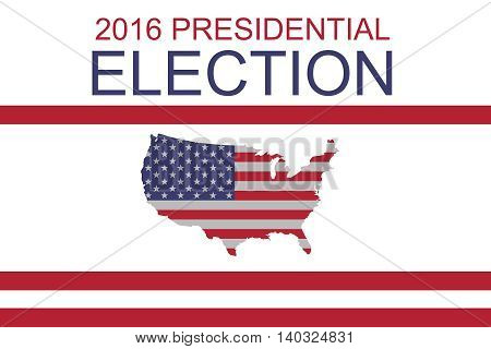 2016 US Presidential Election: Stars and Stripes map of the USA illustration