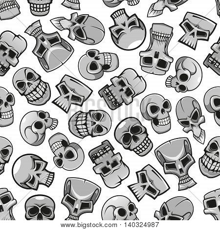 Skulls seamless pattern wallpaper. Scary skeleton faces halloween background