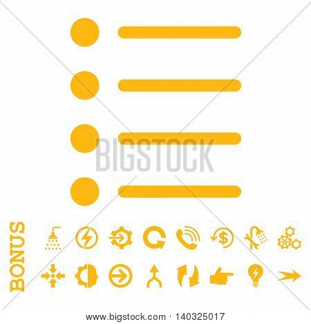 Items glyph icon. Image style is a flat iconic symbol, yellow color, white background.