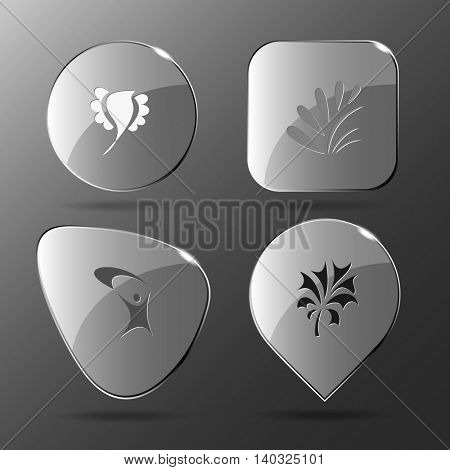 4 images: bird, plant, little man, plant. Abstract set. Glass buttons. Vector illustration icon.