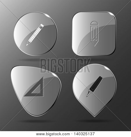 4 images: pencil, triangle ruler, felt pen. Education set. Glass buttons. Vector illustration icon.