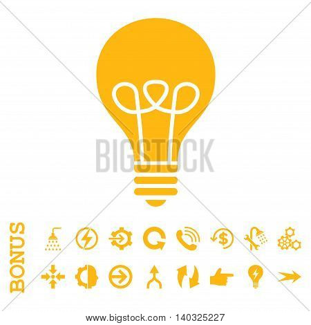 Lamp Bulb glyph icon. Image style is a flat pictogram symbol, yellow color, white background.