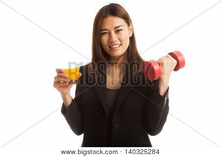 Young Asian Woman With Dumbbell Drink Orange Juice.