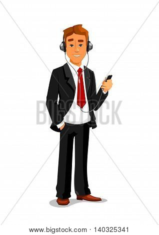 Man holding smatphone and listening muisc in headphones. Office manager, businessman vector isolated character