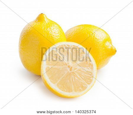 Lemon. Fresh lemons isolated on white. Lemon in a cut