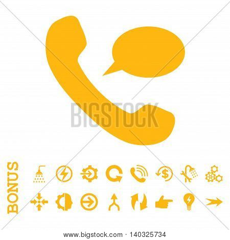 Phone Message glyph icon. Image style is a flat pictogram symbol, yellow color, white background.