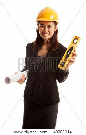 Asian Engineer Woman With Blueprints And Level.