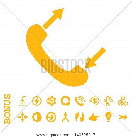 Phone Talking glyph icon. Image style is a flat pictogram symbol, yellow color, white background.