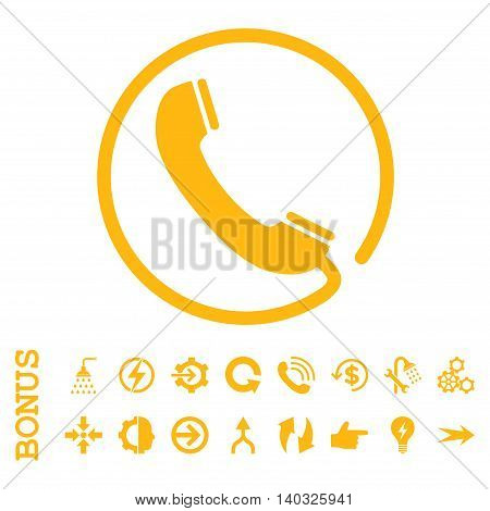 Phone glyph icon. Image style is a flat iconic symbol, yellow color, white background.