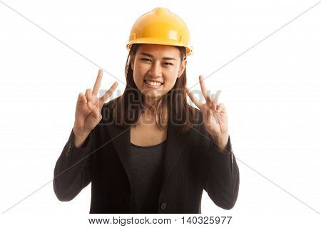 Asian Engineer Woman Show Victory Sign With Both Hands.