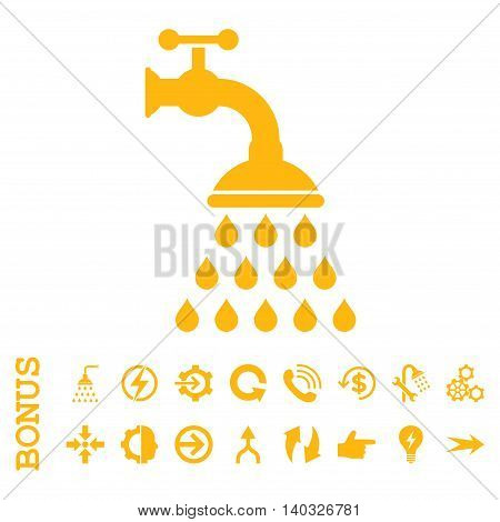 Shower Tap glyph icon. Image style is a flat iconic symbol, yellow color, white background.