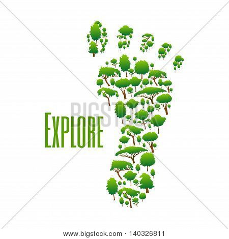 Nature safe exploring poster. Green environment protection icon with foot symbol made of trees