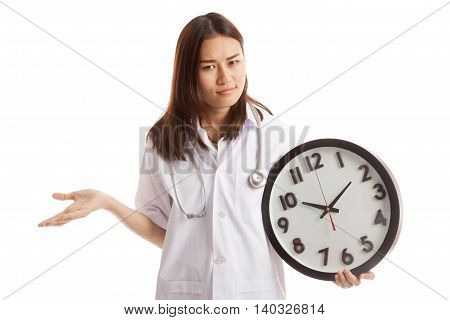 Angry Young Asian Female Doctor With A Clock.