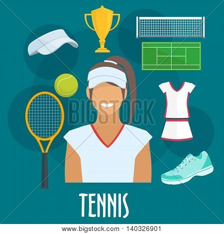 Tennis sport equipment and outfit icons. Tennis woman player with vector isolated cap visor, racket, ball, sneaker, victory cup, playing field, dress