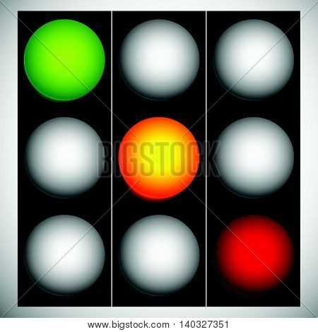 Traffic Lights, Traffic Lamps, Semaphore In Sequence Isolated On White