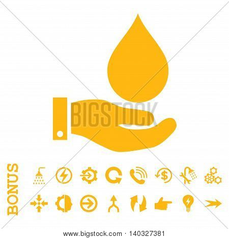 Water Service glyph icon. Image style is a flat iconic symbol, yellow color, white background.