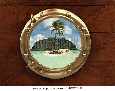 Bullauge innen ein Schiff mit Blick auf eine einsame Insel