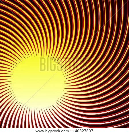 Swirl, Spiral Tricolor Background. Radial Thin Rotating Lines.