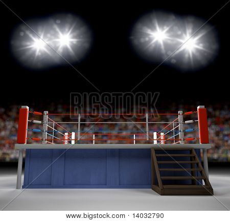 A 3d generated professional boxing ring empty showiing audence in back.