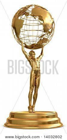 Un trofeo de oro de un hombre que sostiene un globo aislado sobre un fondo blanco. Incluye a pa recorte detallada