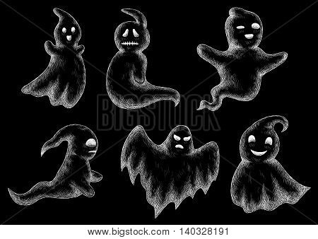 Halloween chalk drawing. Funny ghosts and spooks hand drawn on chalkboard. Cute scary artistic bogey chalked vector icons set. Blackboard background