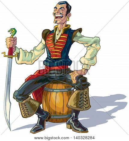 Vector cartoon clip art illustration of an Arabian sailor or pirate sitting on a barrel while laughing and holding a sword. Could represent Sinbad or one of his men.