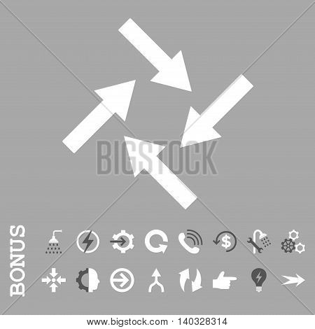 Centripetal Arrows vector bicolor icon. Image style is a flat iconic symbol, dark gray and white colors, silver background.