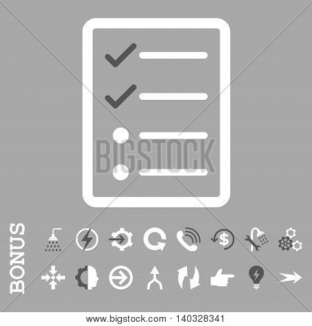 Checklist Page vector bicolor icon. Image style is a flat iconic symbol, dark gray and white colors, silver background.