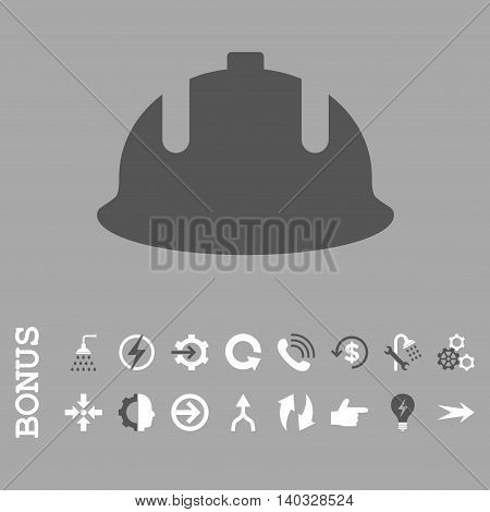 Construction Helmet vector bicolor icon. Image style is a flat iconic symbol, dark gray and white colors, silver background.