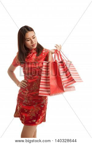 Asian Girl In Chinese Cheongsam Dress.