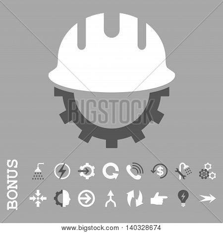 Development Hardhat vector bicolor icon. Image style is a flat pictogram symbol, dark gray and white colors, silver background.