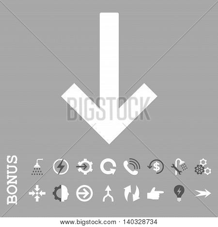 Down Arrow vector bicolor icon. Image style is a flat iconic symbol, dark gray and white colors, silver background.