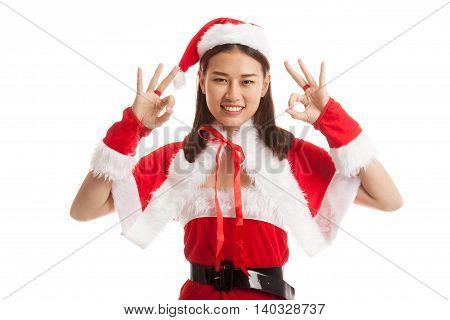 Asian Christmas Santa Claus Girl Show Ok Sign.